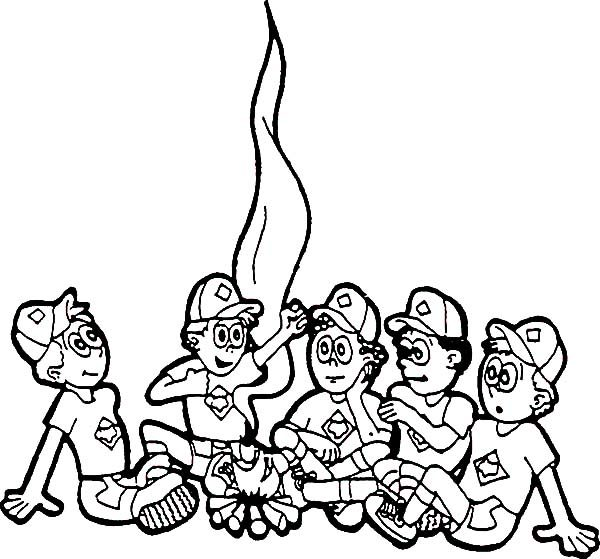 Boy Scouts, : Boy Scouts Gather in Front of Fire Camp Coloring Pages