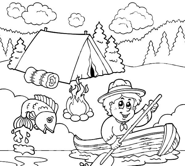 Boy Scouts, : Boy Scouts Going Fishing Coloring Pages