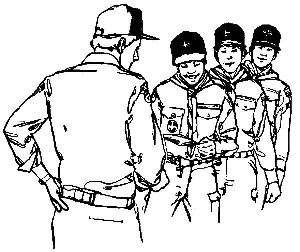 Boy Scouts, : Boy Scouts Hearing Instructions Coloring Pages