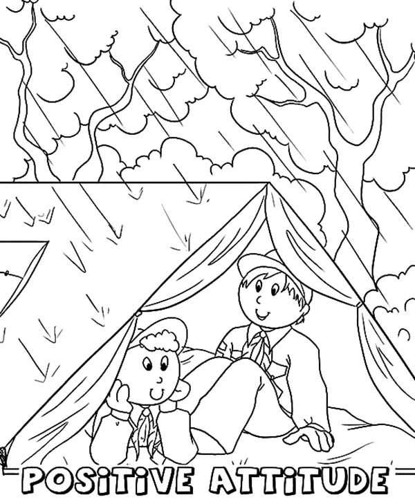 Boy Scouts, : Boy Scouts Hiding from Rain Coloring Pages