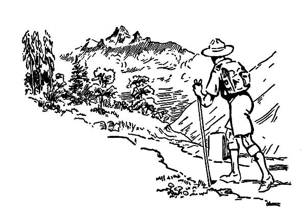Boy Scouts, : Boy Scouts Hiking the Hill Coloring Pages