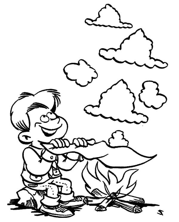Boy Scouts, : Boy Scouts Making Smoke Sign Coloring Pages