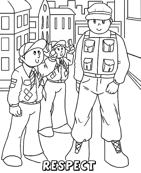 Boy Scouts, : Boy Scouts Must Respect the Older Coloring Pages
