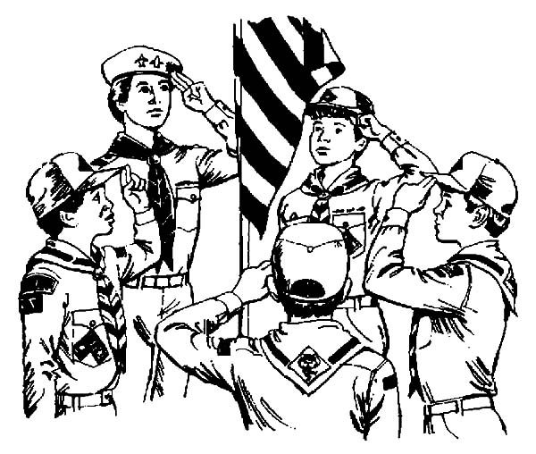 Boy Scouts, : Boy Scouts Saluting US Flag Coloring Pages