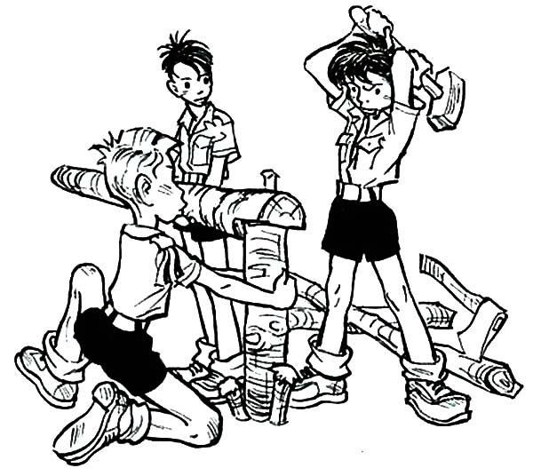 Boy Scouts, : Boy Scouts Set Up Tent Together Coloring Pages