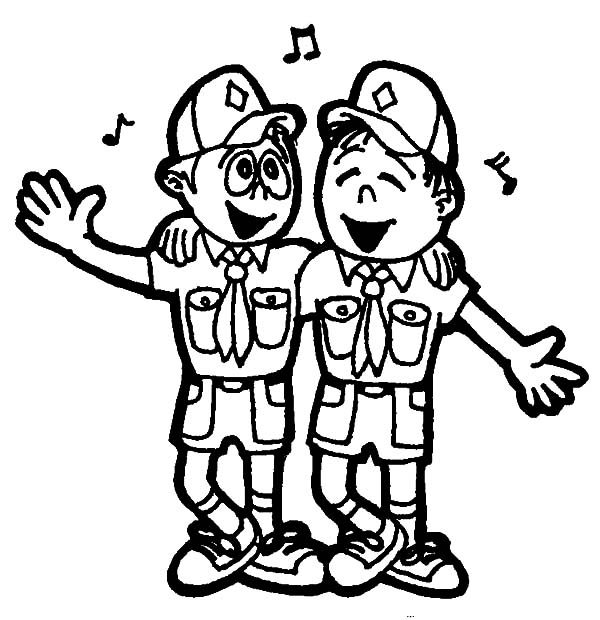 Boy Scouts, : Boy Scouts Singing Together Coloring Pages