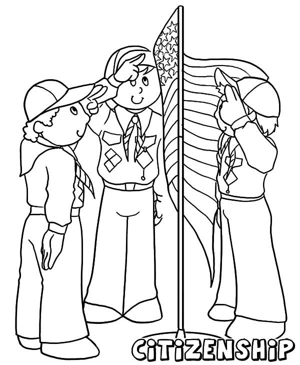 Boy Scouts Wave The Flag On Camp Coloring Pages