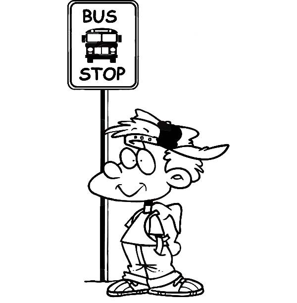Bus Stop, : Boy Waiting at a School Bus Stop Coloring Pages