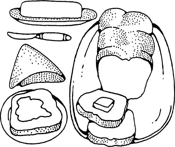 Bread, : Bread Covered with Jam and Cheese Coloring Pages