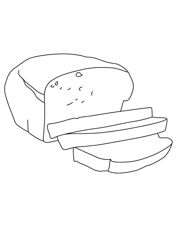 Bread, : Bread Slice Outline Coloring Pages