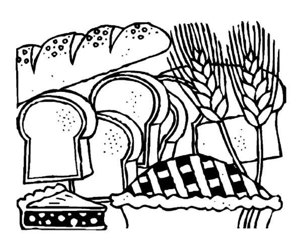 Bread, : Bread Store Coloring Pages