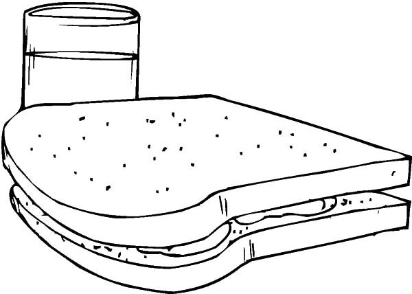 Bread, : Bread and Glass of Milk Coloring Pages