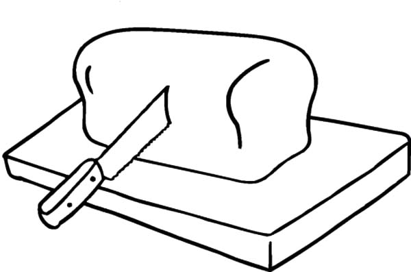 Bread on Cutting Board Coloring Pages: Bread on Cutting Board ...