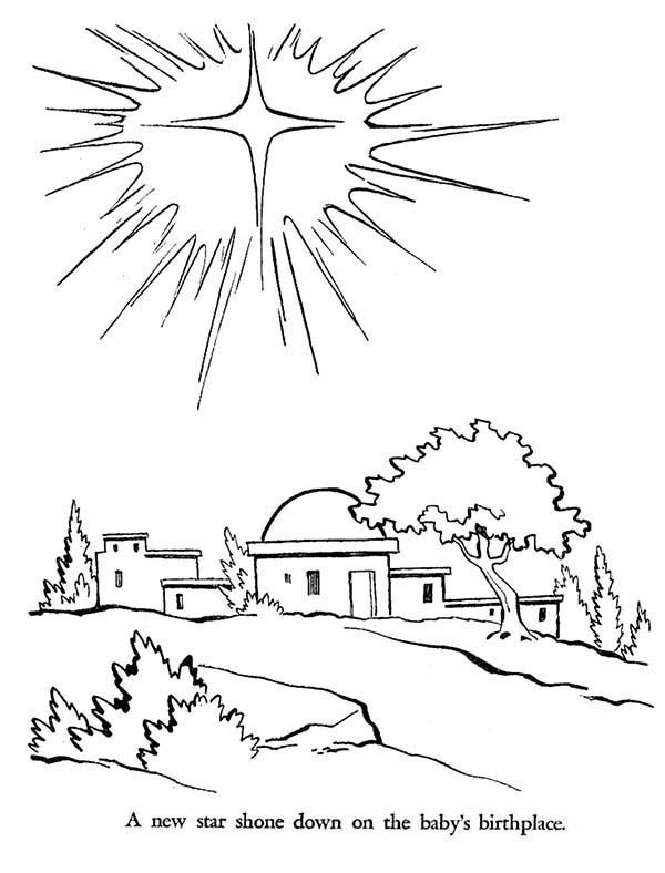 Bible Christmas Story, : Bright Star Shine Down on the Bight Jesus Was Born Bible Christmas Story Coloring Pages
