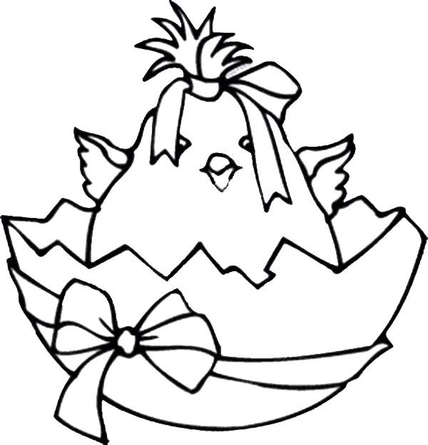 Broken Egg, : Broken Egg Contain Baby Chicken Wearing Ribbon Coloring Pages