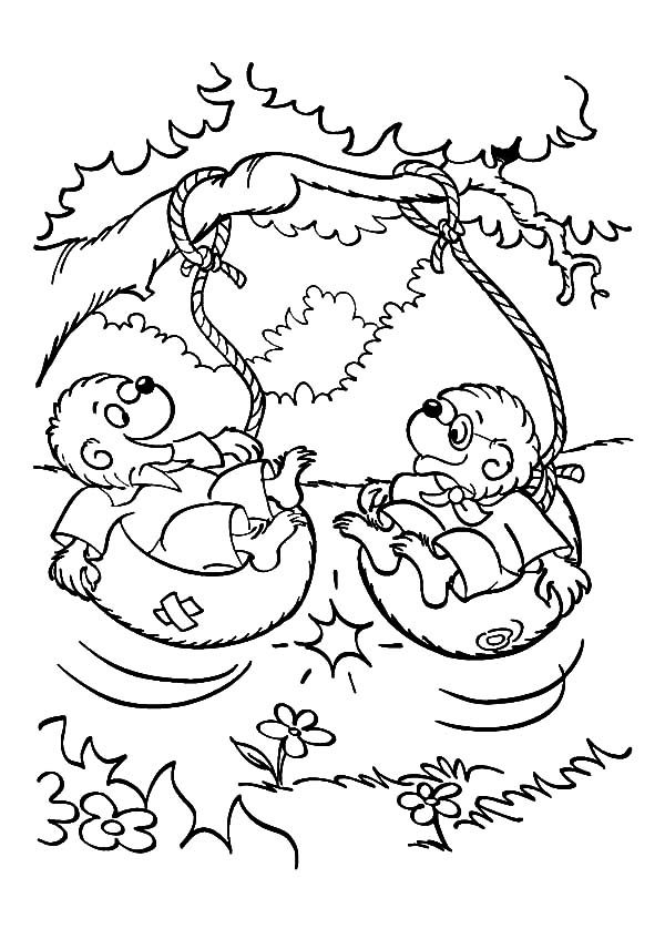 Berenstain Bear, : Brother and Sister Bear Playing Swing in Berenstain Bear Coloring Pages