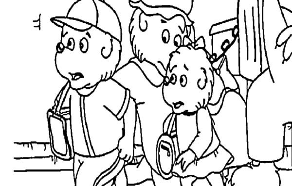 Berenstain Bear, : Brother and Sister Berenstain Bear Going to School Coloring Pages