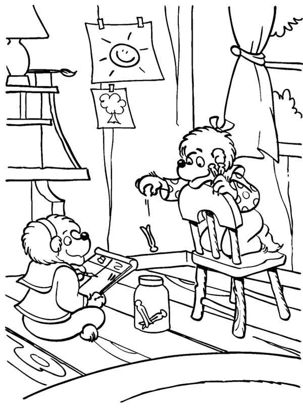 Berenstain Bear, : Brother and Sister Berenstain Bear Quality Time Coloring Pages