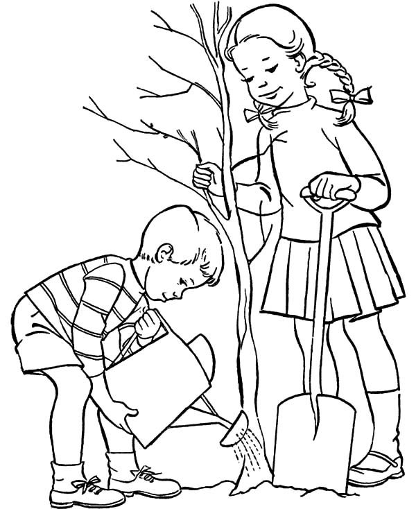 Arbor Day, : Brother and Sister Grow a Tree on Arbor Day Coloring Pages