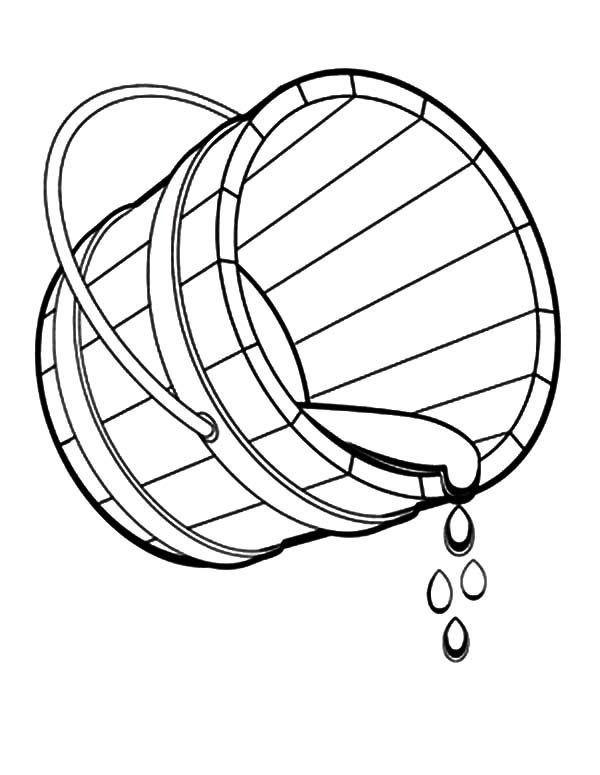 Bucket, : Bucket Spilling Water Coloring Pages