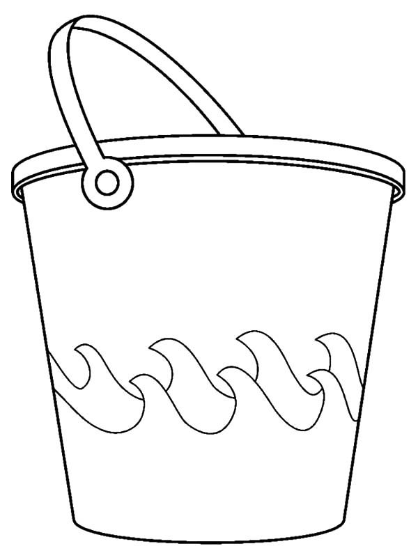 Bucket, : Bucket and Sea Waves Coloring Pages