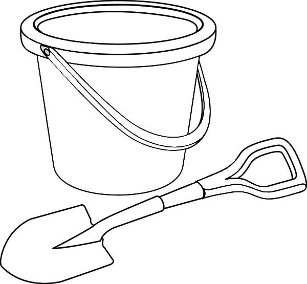 Bucket, : Bucket and Shovel Coloring Pages