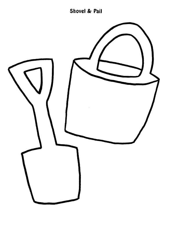 Bucket, : Bucket and Shovel Outline Coloring Pages
