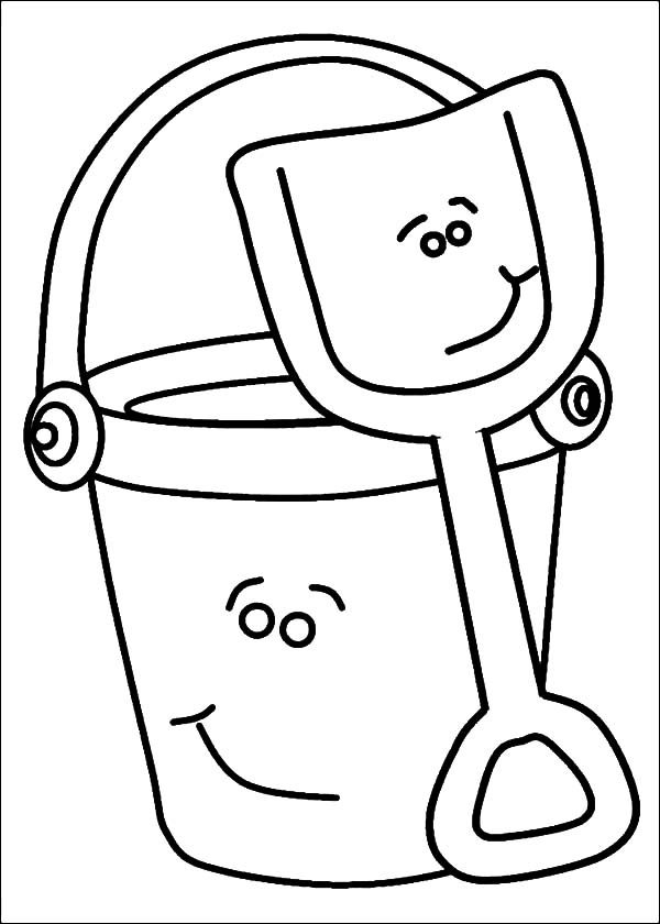 Bucket, : Bucket and Shovel Smile Coloring Pages