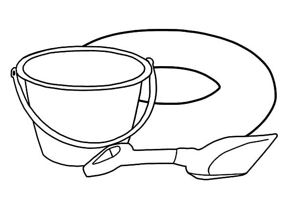 Bucket, : Bucket and Shovel for Sand Castle Coloring Pages