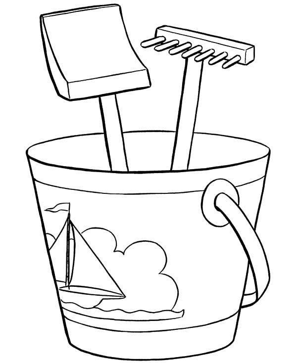 Bucket, : Bucket and Shovel for Summer Vacation Coloring Pages
