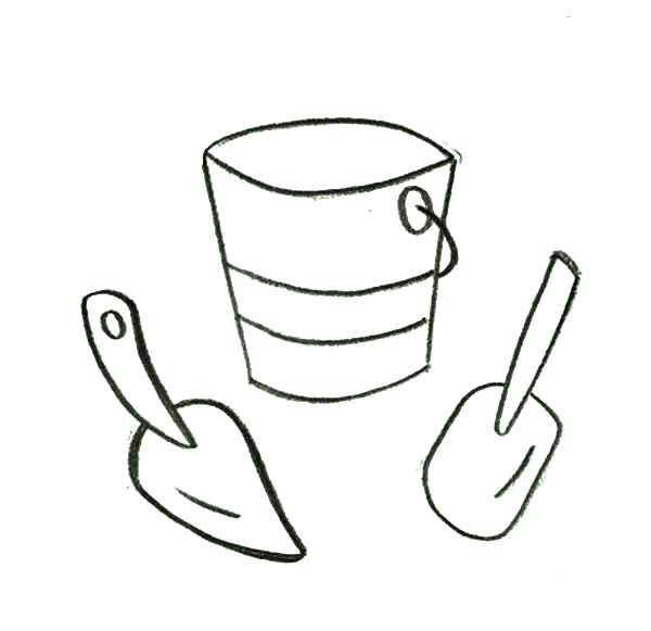 Bucket, : Bucket and Two Shovel Coloring Pages