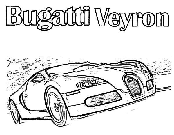 Bugatti Car, : Bugatti Car Veyron on the Road Coloring Pages