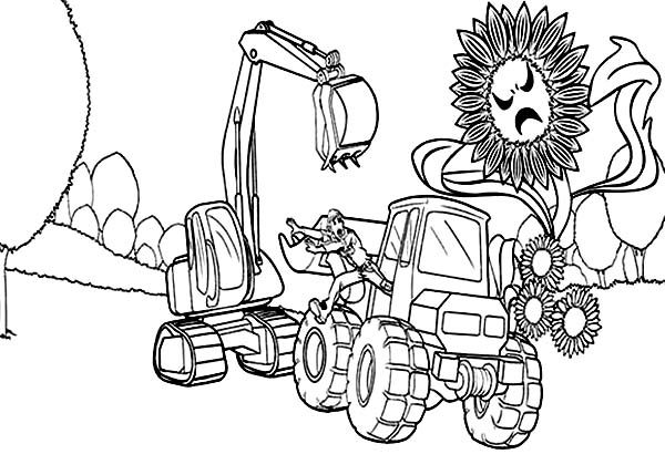 barbie thumbelina bulldozer driver running scared to plant monster in barbie thumbelina coloring pages - Bulldozer Coloring Pages