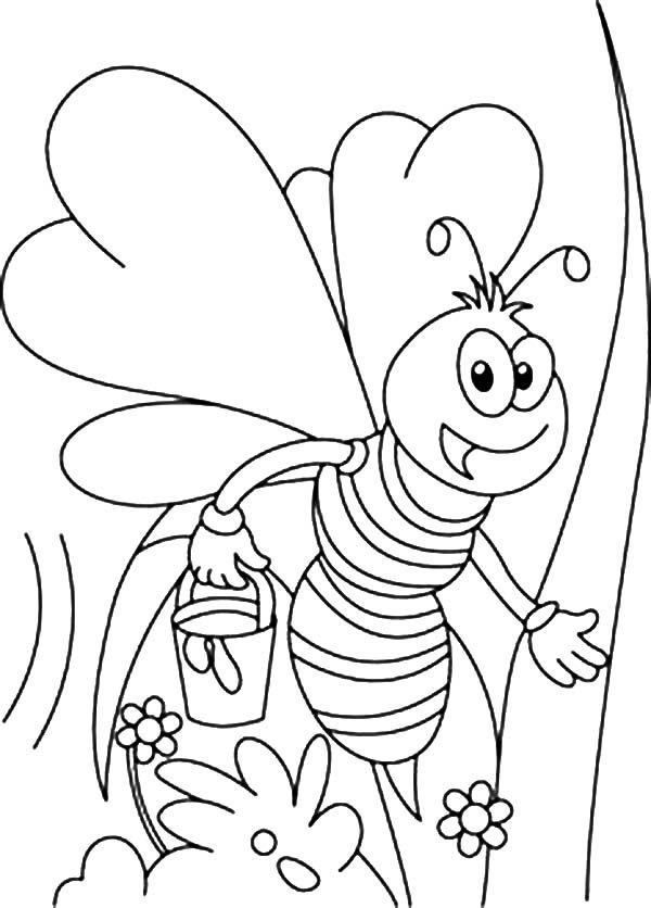 Bumble Bee, : Bumble Bee Collecting Flower Coloring Pages