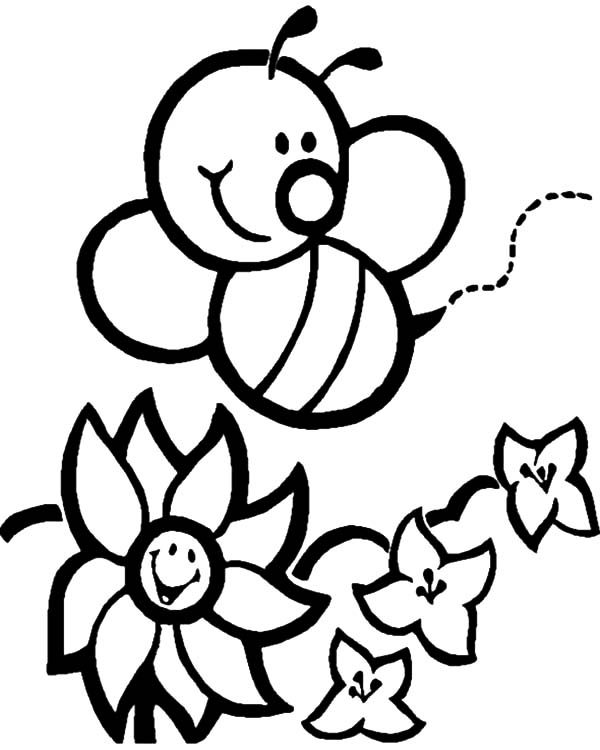 Bumble Bee, : Bumble Bee Flower Hunting Coloring Pages