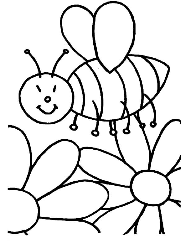 Bumble Bee, : Bumble Bee Found Flower Garden Coloring Pages