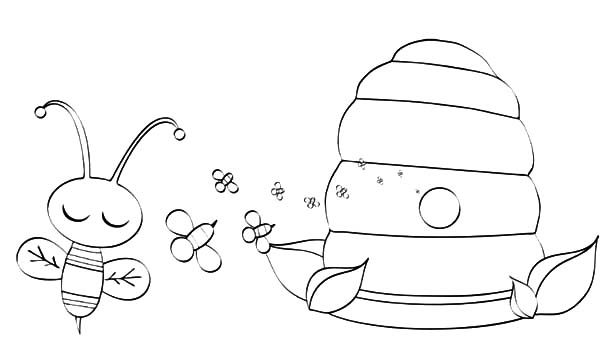 Bumble Bee, : Bumble Bee Honey Factory Coloring Pages