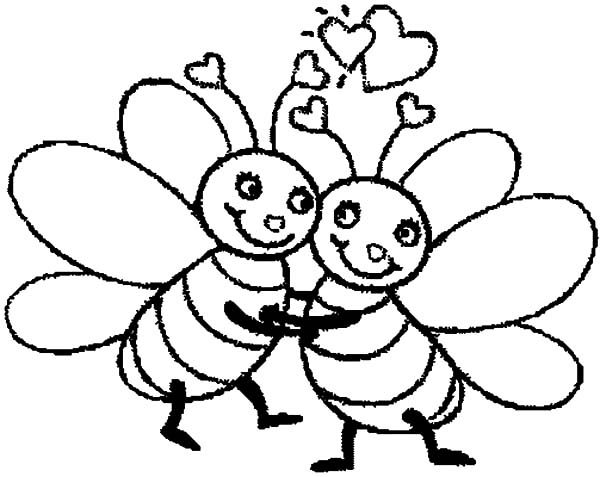 Bumble Bee, : Bumble Bee Hugging Tight Coloring Pages