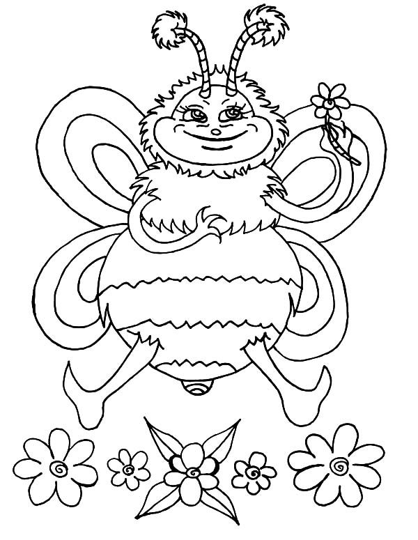 Bumble Bee, : Bumble Bee and Flower Coloring Pages