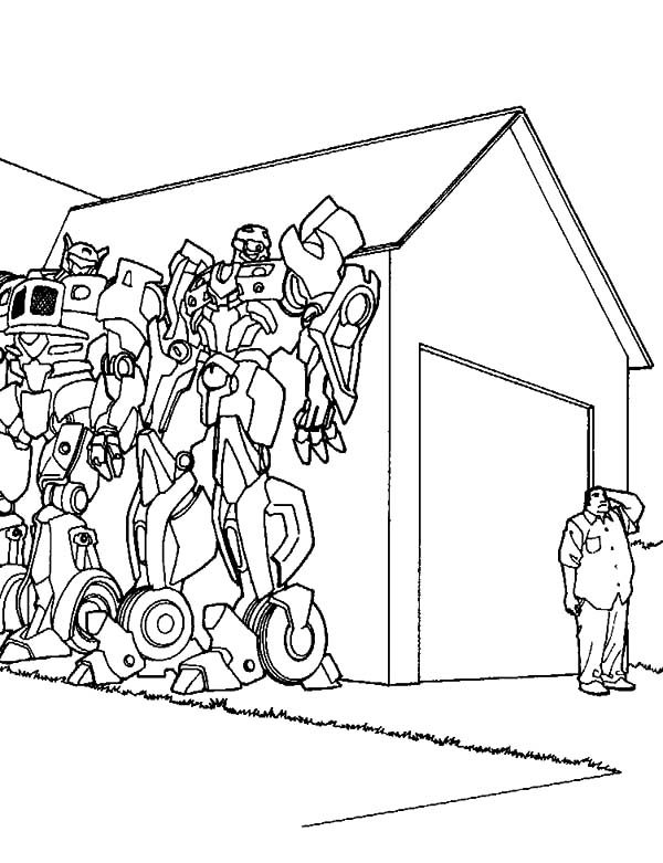 Bumblebee Car, : Bumblebee Car Hiding Coloring Pages