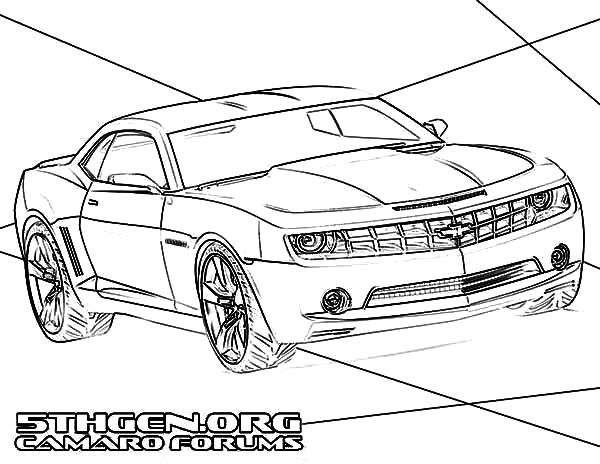 Bumblebee Car, : Bumblebee Car Muscle Camaro Car Coloring Pages