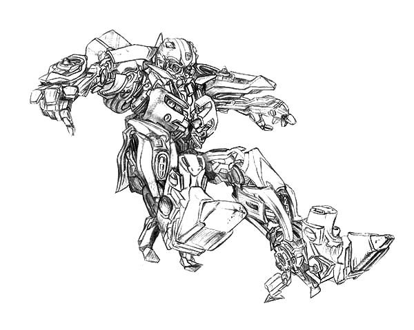 Bumblebee Car, : Bumblebee Car in Action Coloring Pages