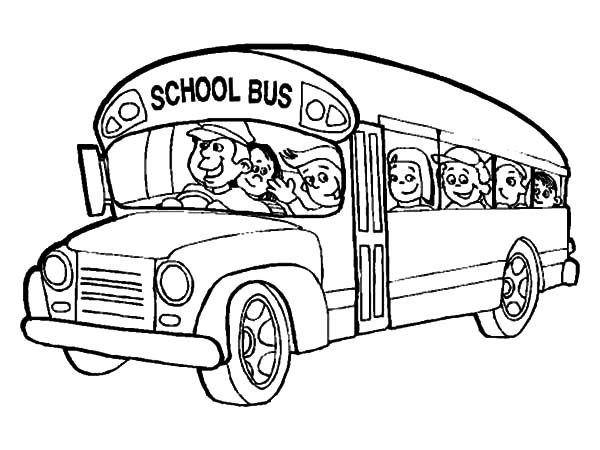 Bus Driver, : Bus Driver Bring All Student to School Coloring Pages