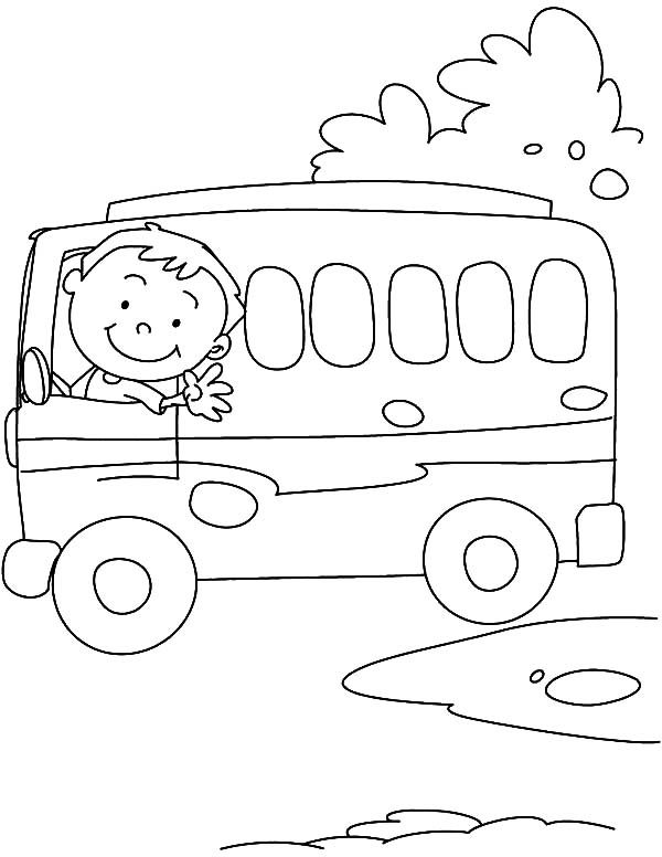 Bus Driver, : Bus Driver Greeting Us Coloring Pages