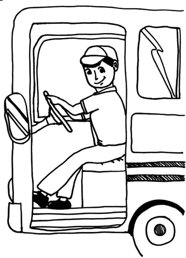 Bus Driver, : Bus Driver Open Bus Door Coloring Pages