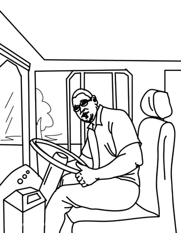 Bus Driver, : Bus Driver Started Bus Engine Coloring Pages
