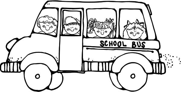 Bus Driver, : Bus Driver Take Student to School Coloring Pages