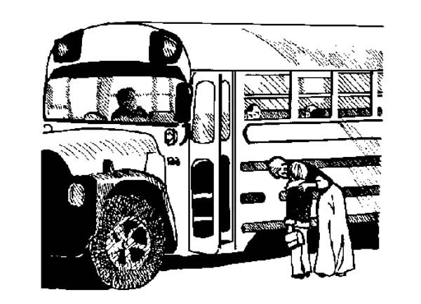 Bus Driver, : Bus Driver Waiting for Passanger Coloring Pages