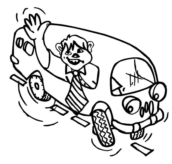 Bus Driver, : Bus Driver Waving from the Window of a Shcool Bus Coloring Pages
