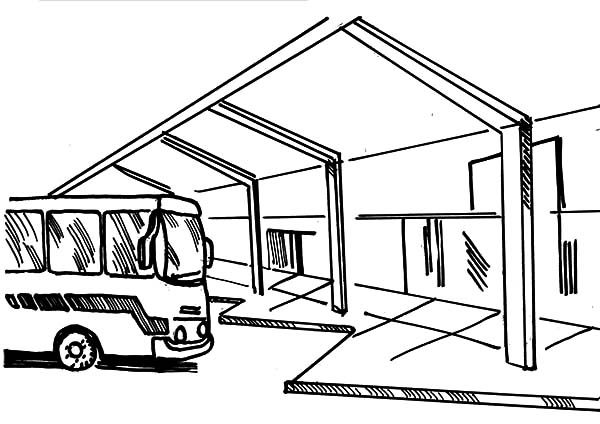 Bus Stop, : Bus Station Place Where Bus Stop Coloring Pages